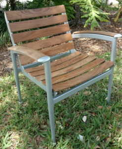 Natural Teak slat aluminum Chair